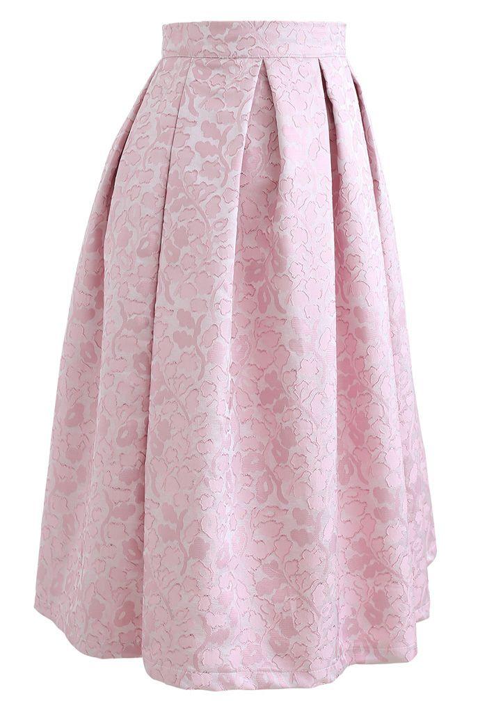 Pink Blossom Jacquard Pleated Midi Skirt