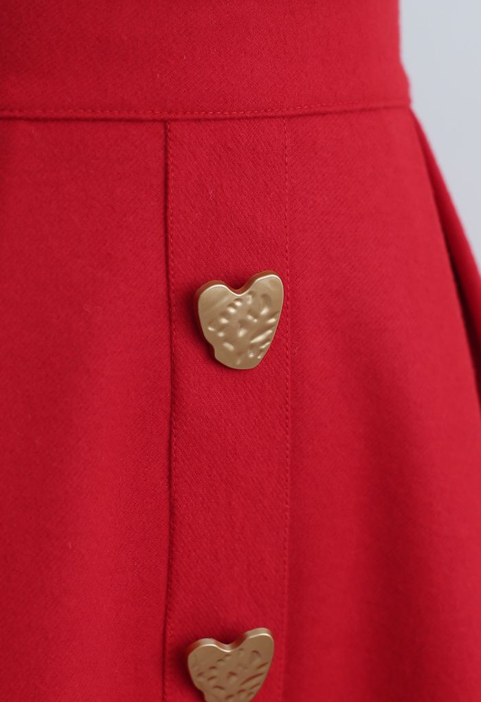 Heart Shape Button Embellished A-Line Midi Skirt in Red
