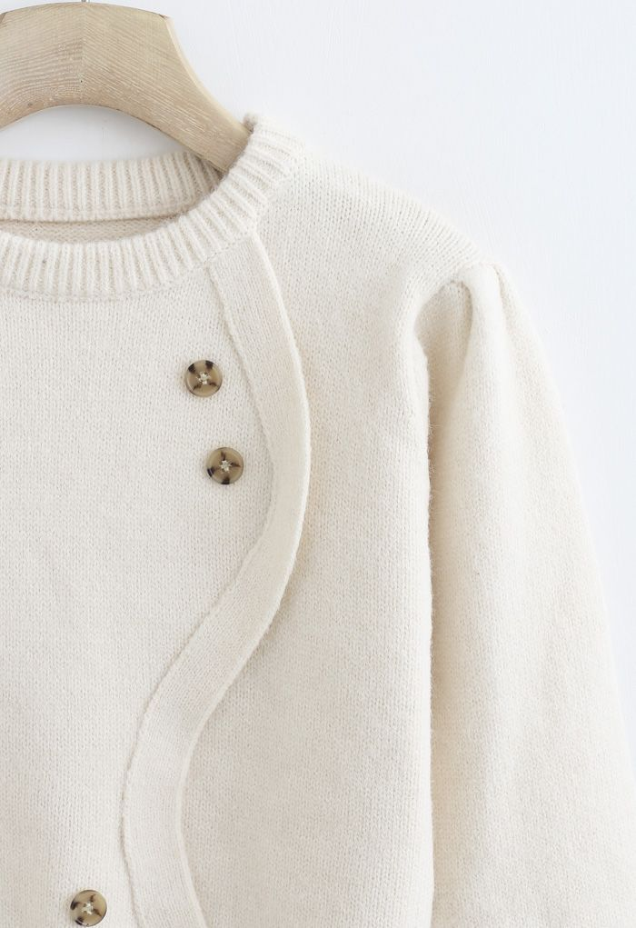 Wavy Front Buttoned Knit Sweater in Cream