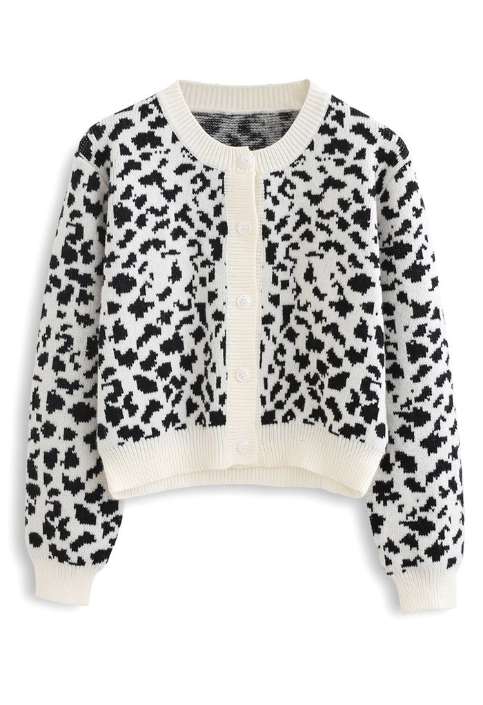 Animal Print Button Down Crop Cardigan in White