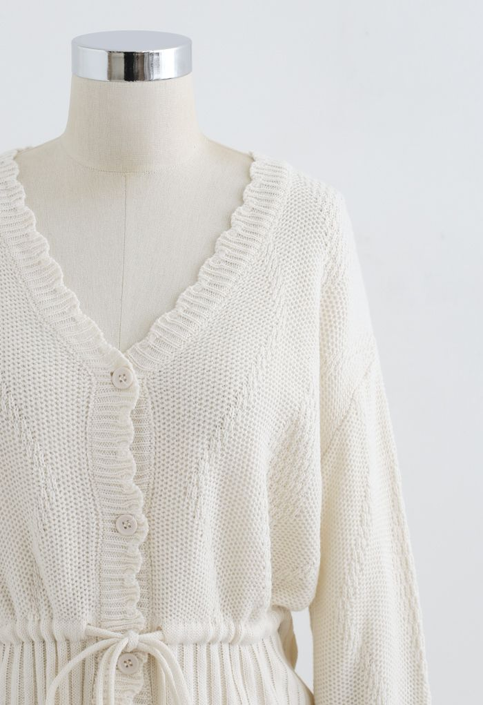 Drawstring V-Neck Button Down Knit Cardigan in Ivory
