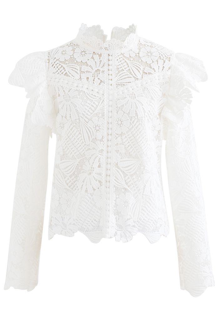 Panelled Sunflower Ruffle Crochet Top in White