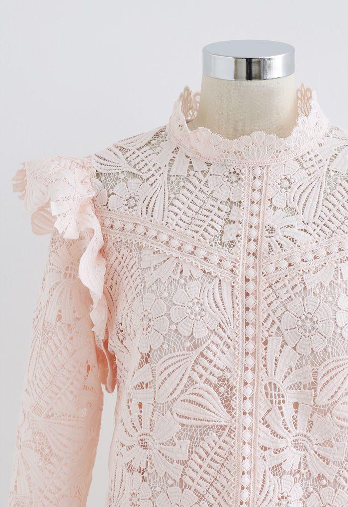 Panelled Sunflower Ruffle Crochet Top in Pink