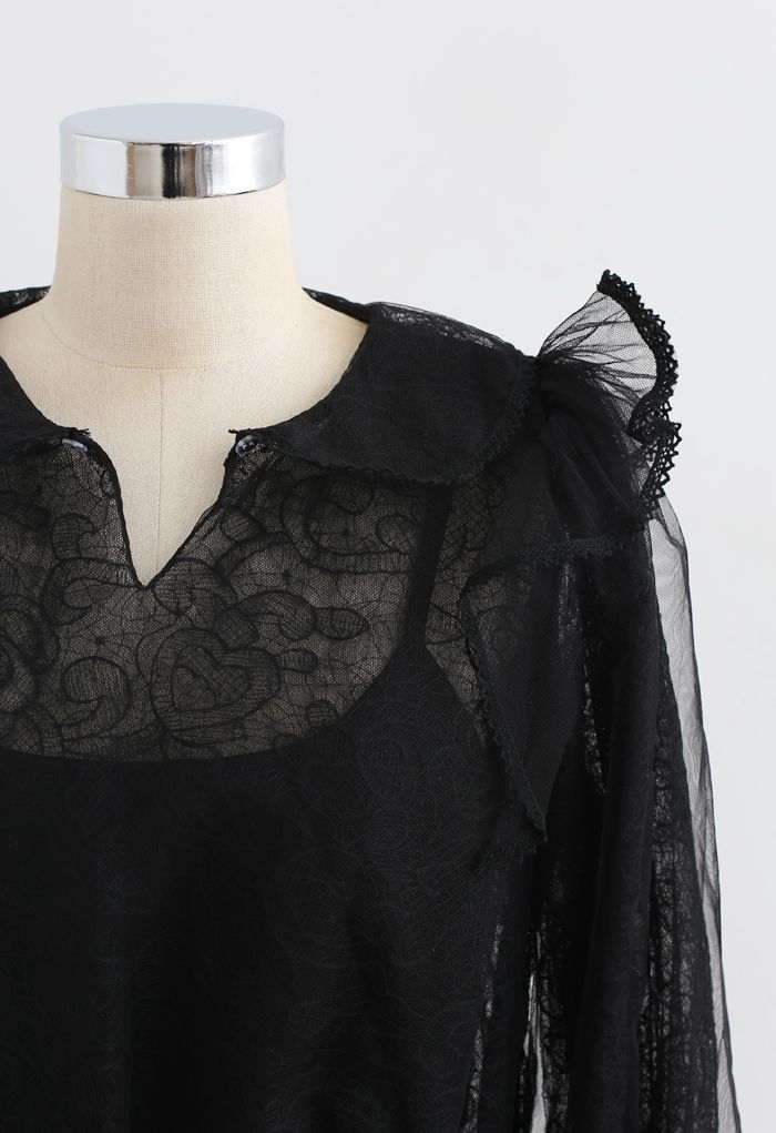 Flower Vine Organza Mesh Shirred Top in Black