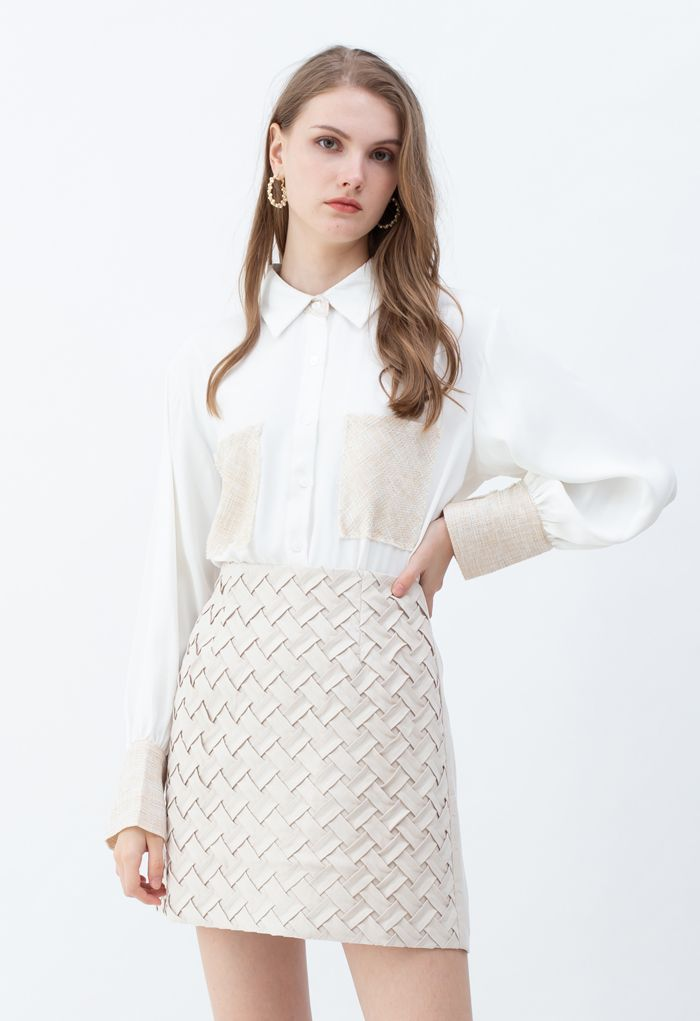 Textured Weave Spliced Buttoned Shirt in White