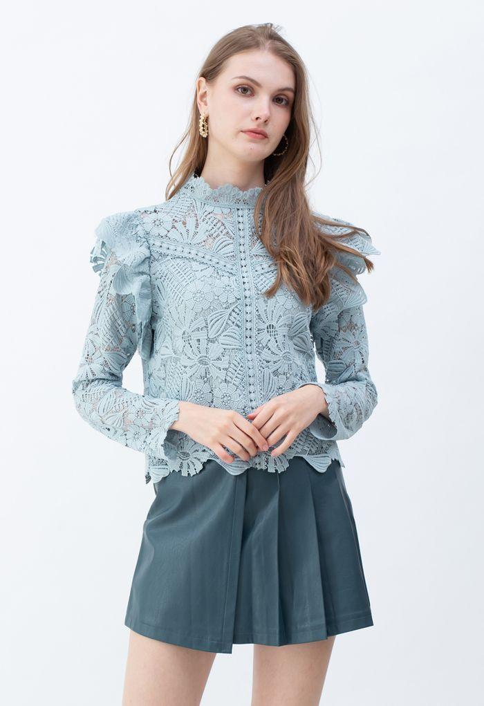 Panelled Sunflower Ruffle Crochet Top in Dusty Blue