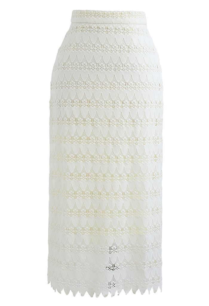 Scrolled Hem Full Crochet Pencil Skirt in Cream