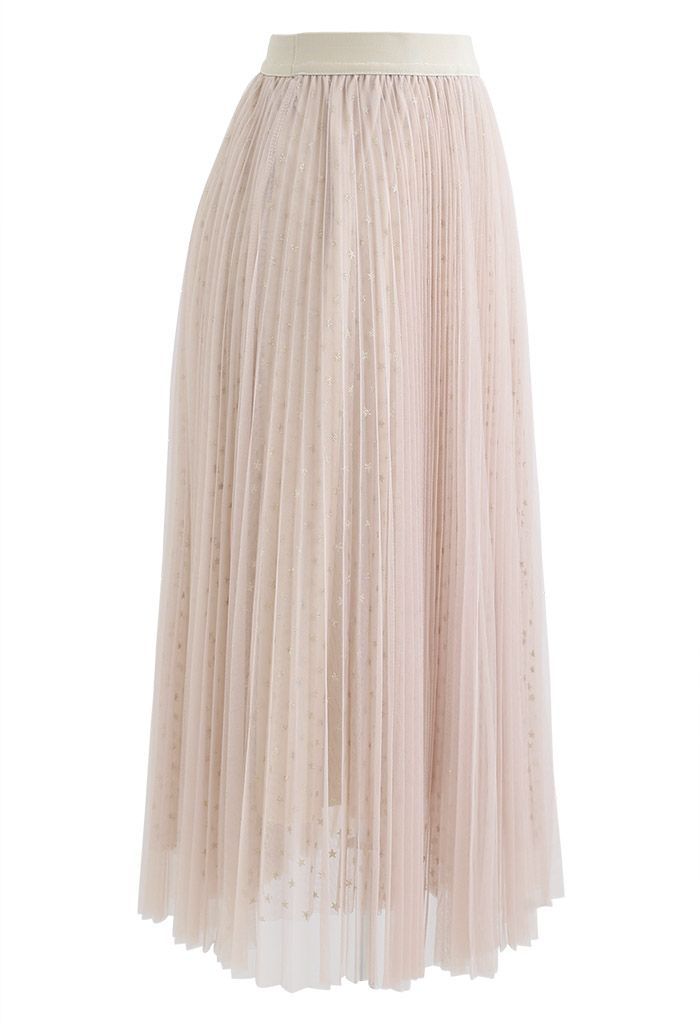 Starry Double-Layered Pleated Tulle Midi Skirt in Light Tan