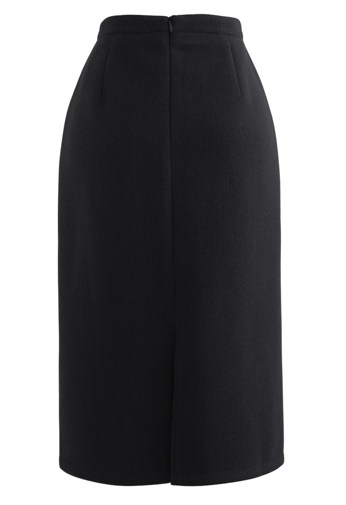 Split Fuzzy Rib Skirt in Black