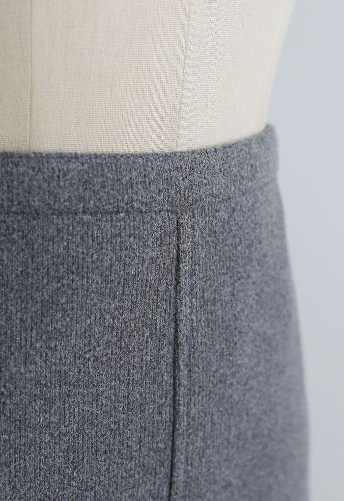 Split Fuzzy Rib Skirt in Grey