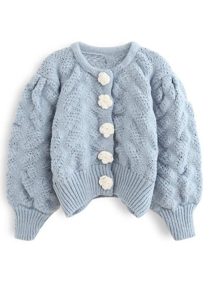 Flowers Button Down Embossed Bubble Sleeves Cardigan in Blue
