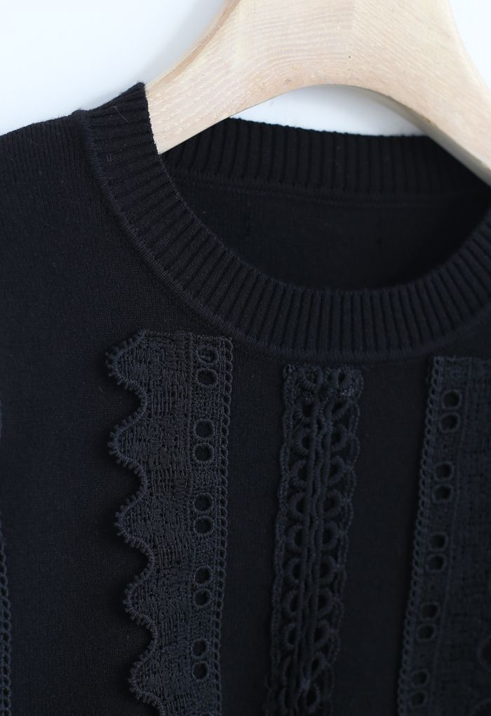 Crochet Front Ribbed Knit Sweater in Black