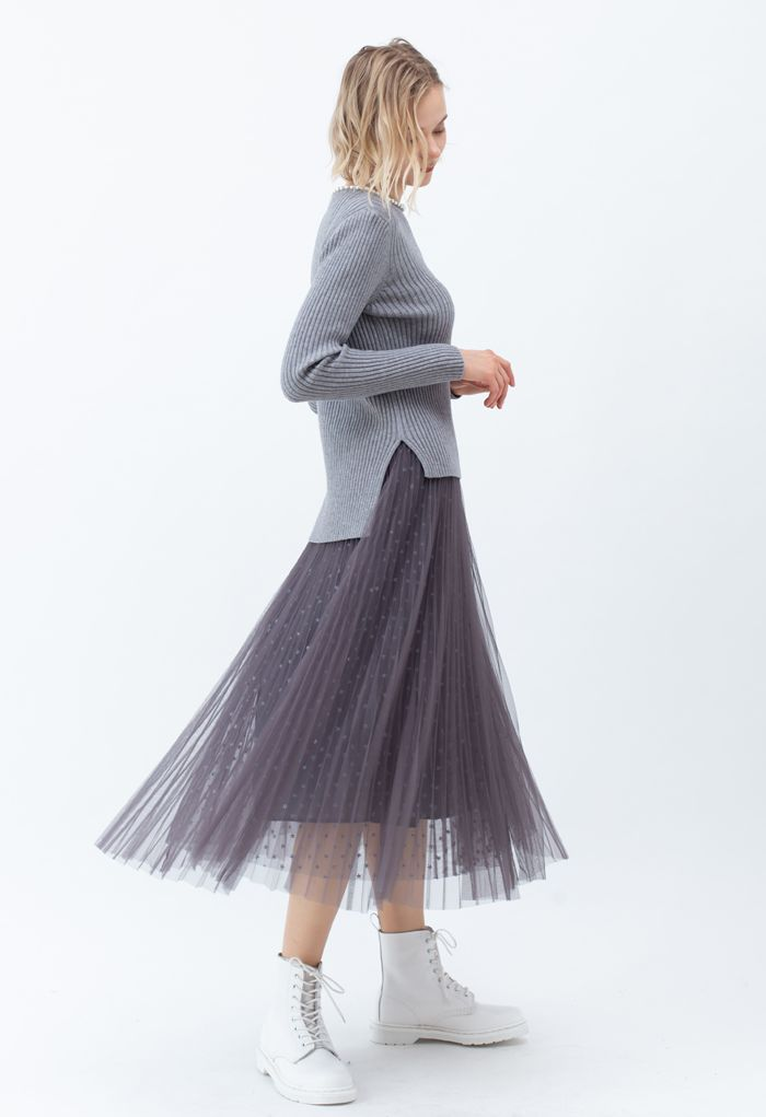 Starry Double-Layered Pleated Tulle Midi Skirt in Smoke