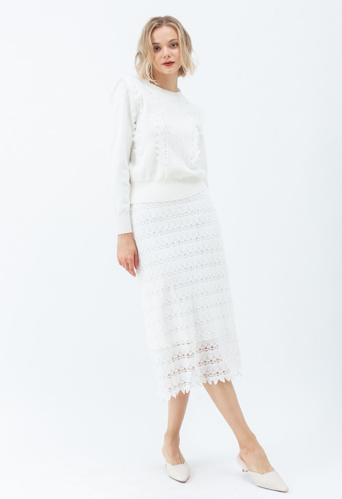 Scrolled Hem Full Crochet Pencil Skirt in White