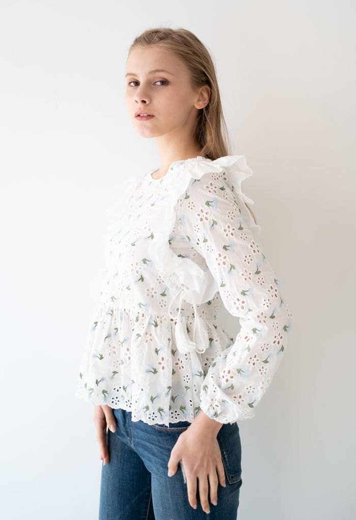 Embroidered Blue Posy Eyelet Tassel Top