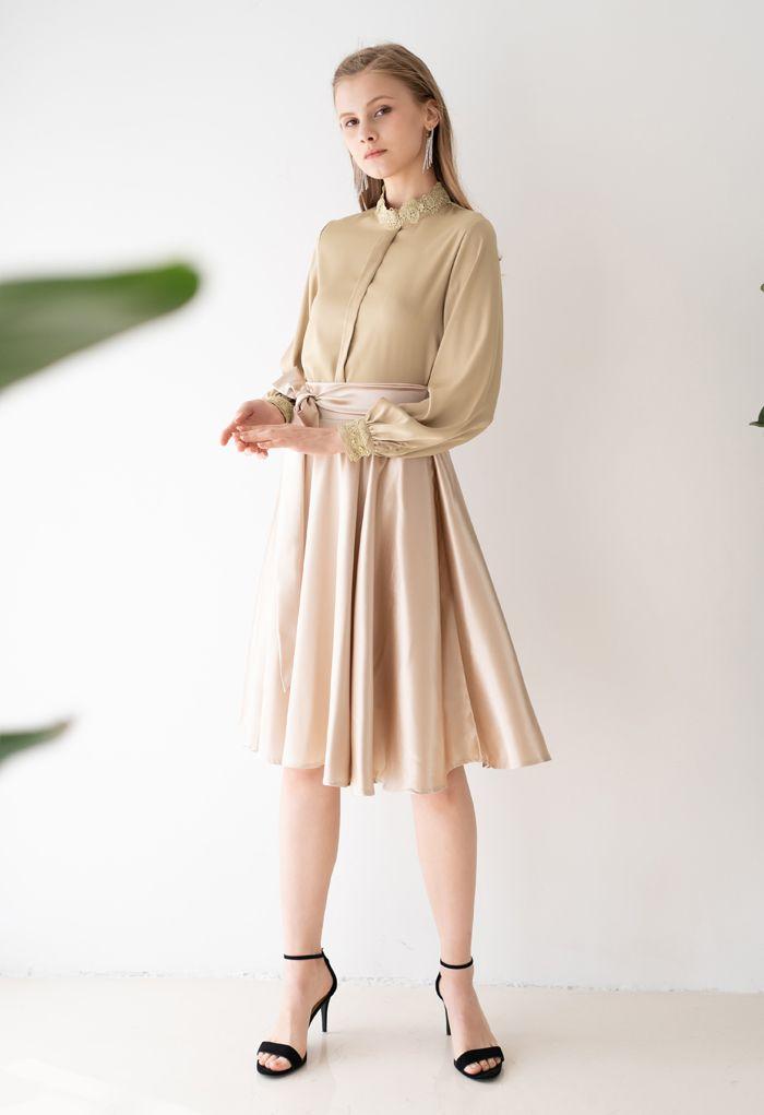 Flare Hem Bowknot Waist Midi Skirt in Gold
