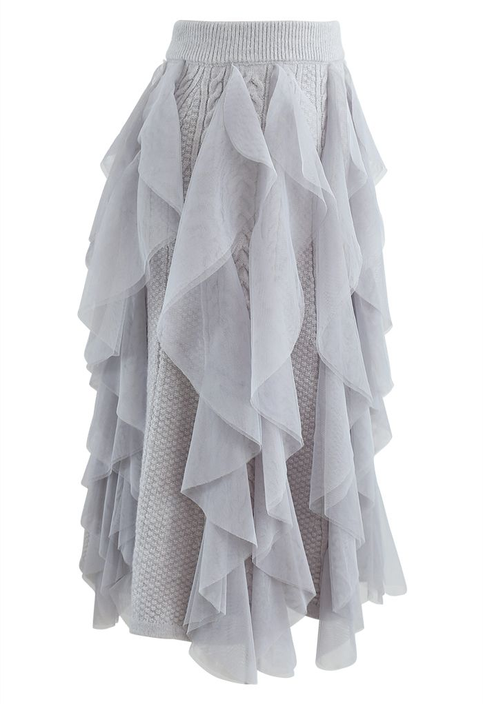 Ruffle Mesh Trim Braid Knit Midi Skirt