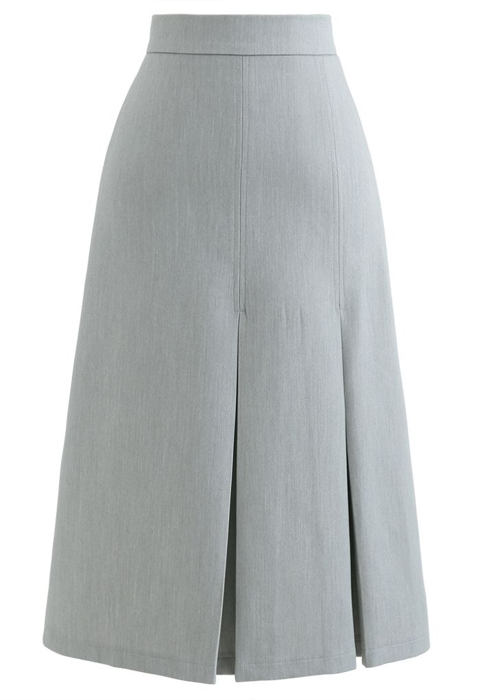 Pleated Hem Split Midi Skirt in Grey