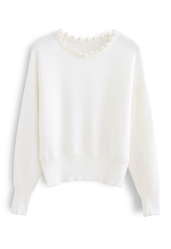 Pearls Trim Round Neck Knit Top in White