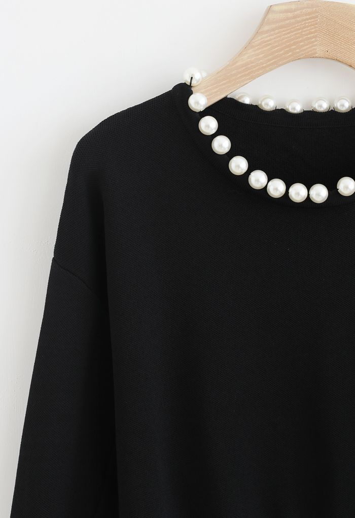 Pearls Trim Round Neck Knit Top in Black