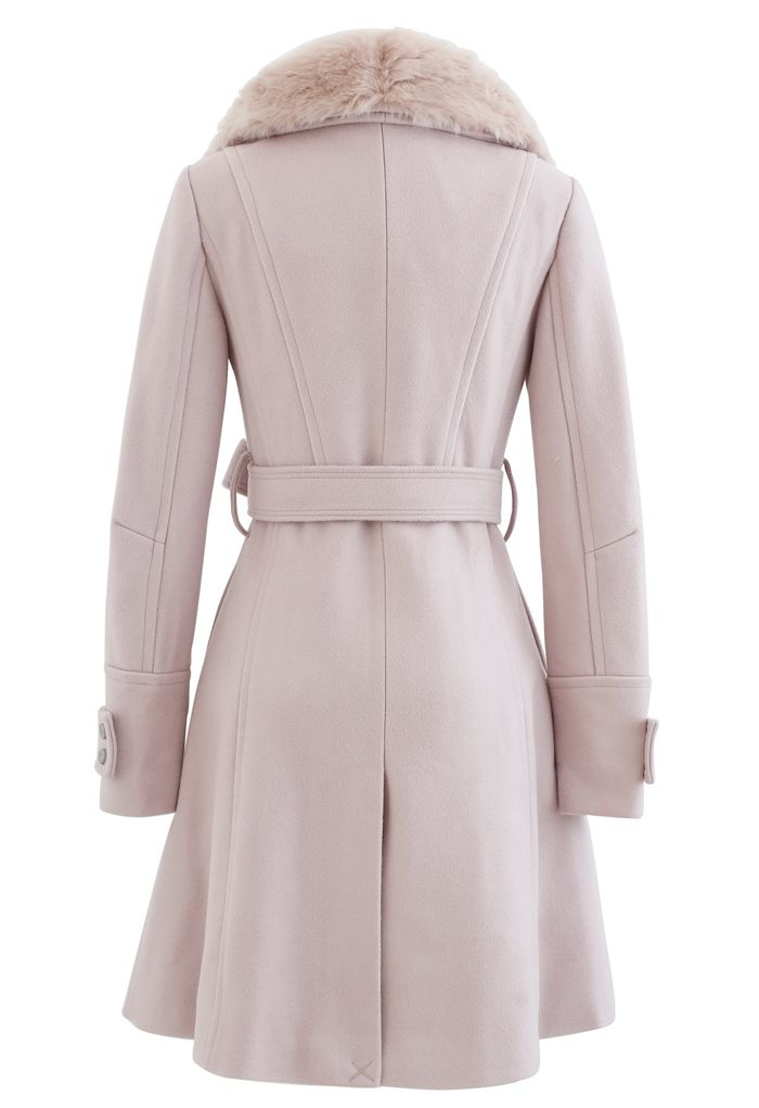 Faux Fur Wide Lapel Wool-Blend Coat in Pink