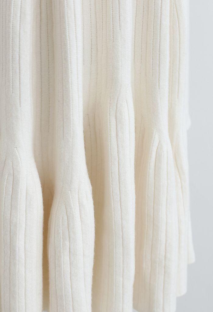Frilling Hem Round Neck Knit Dress in Cream
