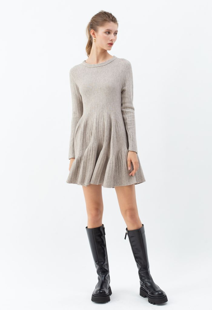 Frilling Hem Round Neck Knit Dress in Sand