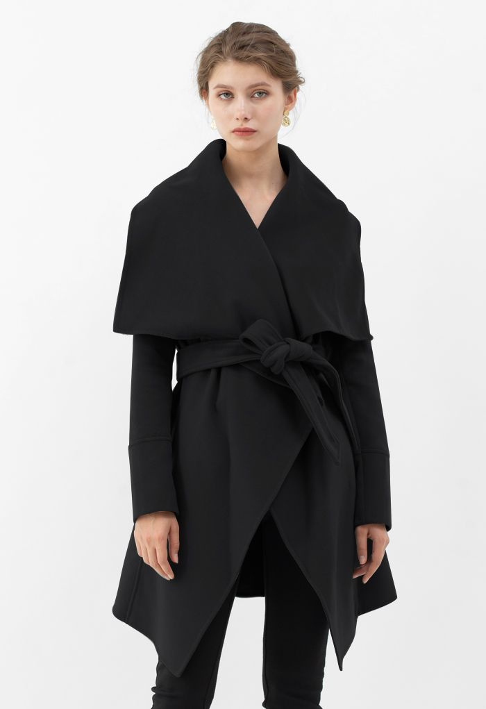 Wide Lapel Tie Belt Wrapped Wool-Blend Coat in Black