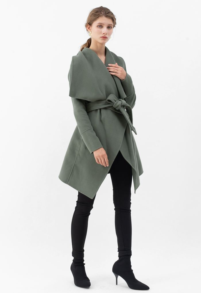 Wide Lapel Tie Belt Wrapped Wool-Blend Coat in Olive