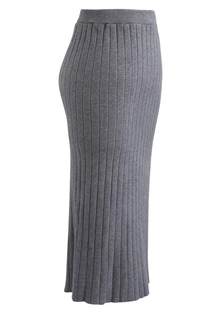 Ribbed Knit Split Back Pencil Skirt in Grey