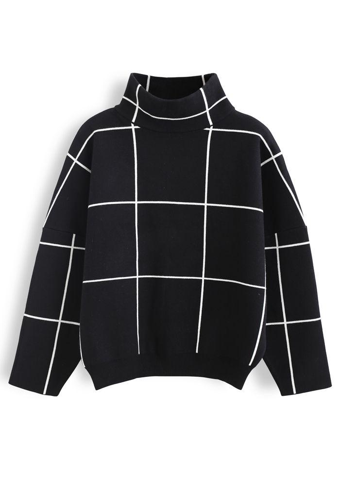 Grid Turtleneck Sweater in Black