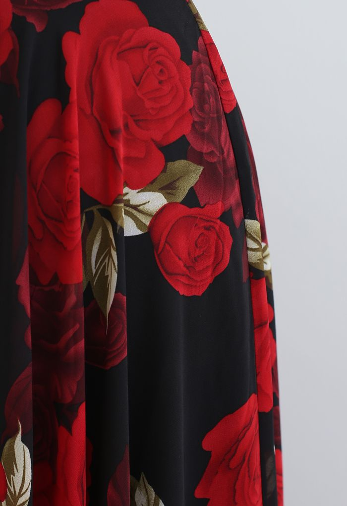 Timeless Favorite Chiffon Maxi Skirt in Red Rose