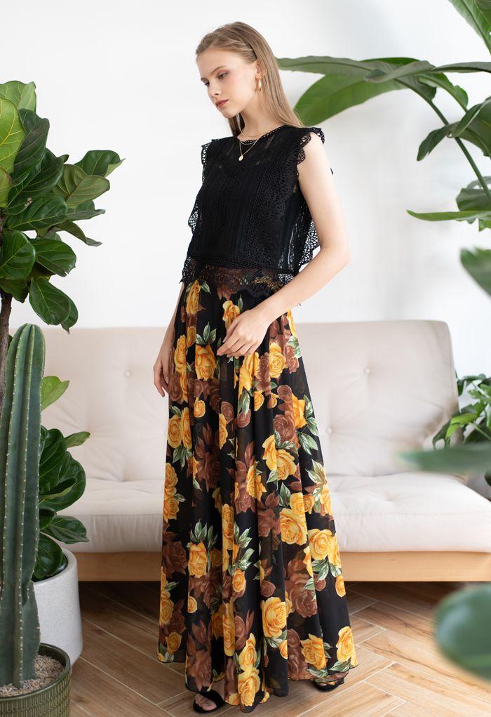 Timeless Favorite Chiffon Maxi Skirt in Yellow Rose