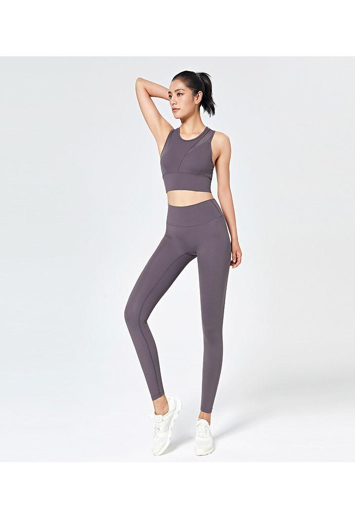Mesh-Inset Medium-Impact Sports Bra and Leggings Set in Purple