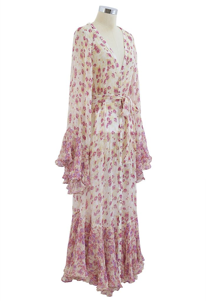Ditsy Floral Kimono Sleeves Semi-Sheer Hi-Lo Dress