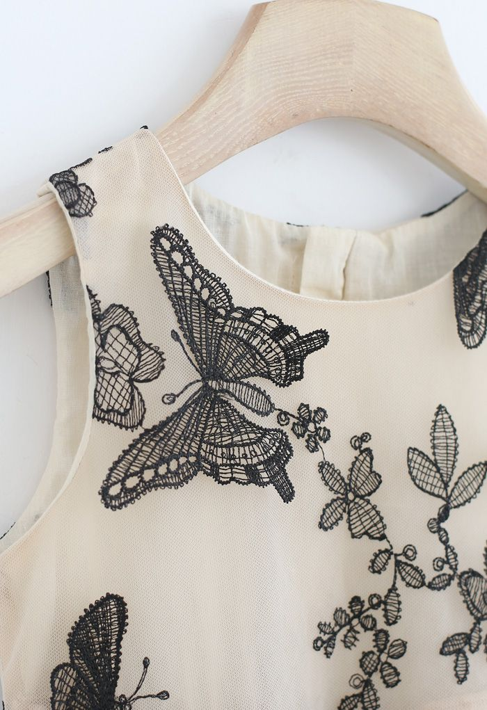 Dancing Butterfly Sleeveless Double-Layered Mesh Dress For Kids