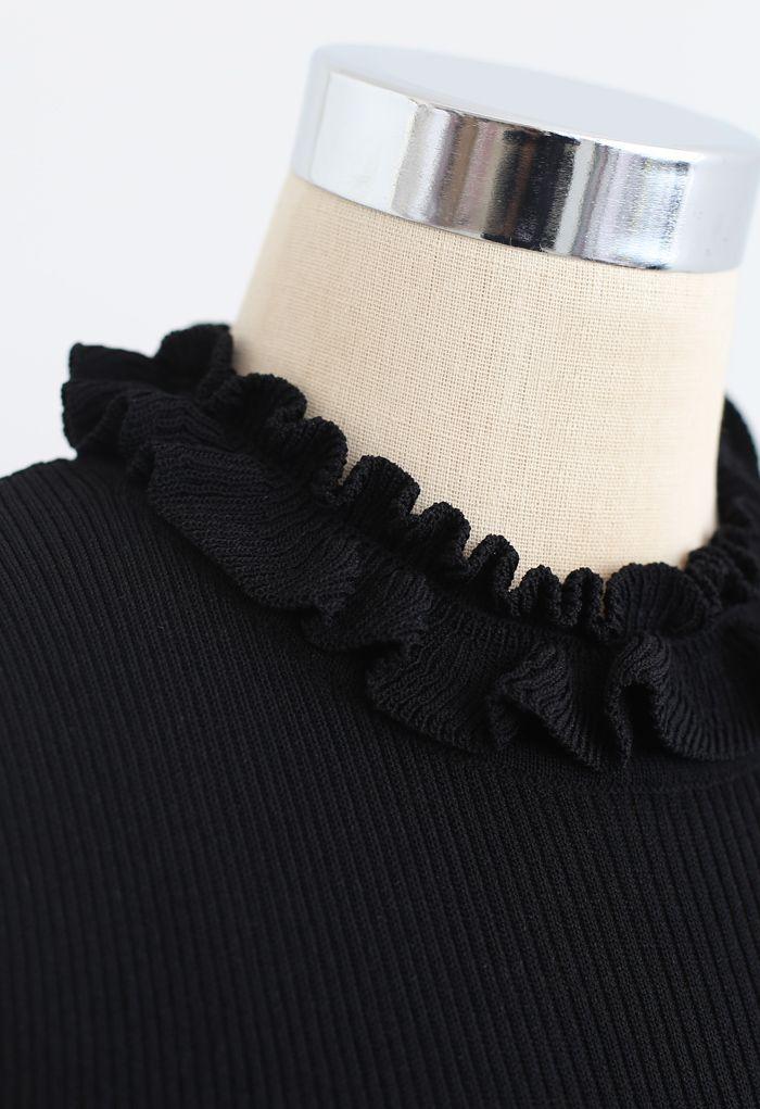 Knit Spliced Sleeveless Maxi Dress in Black