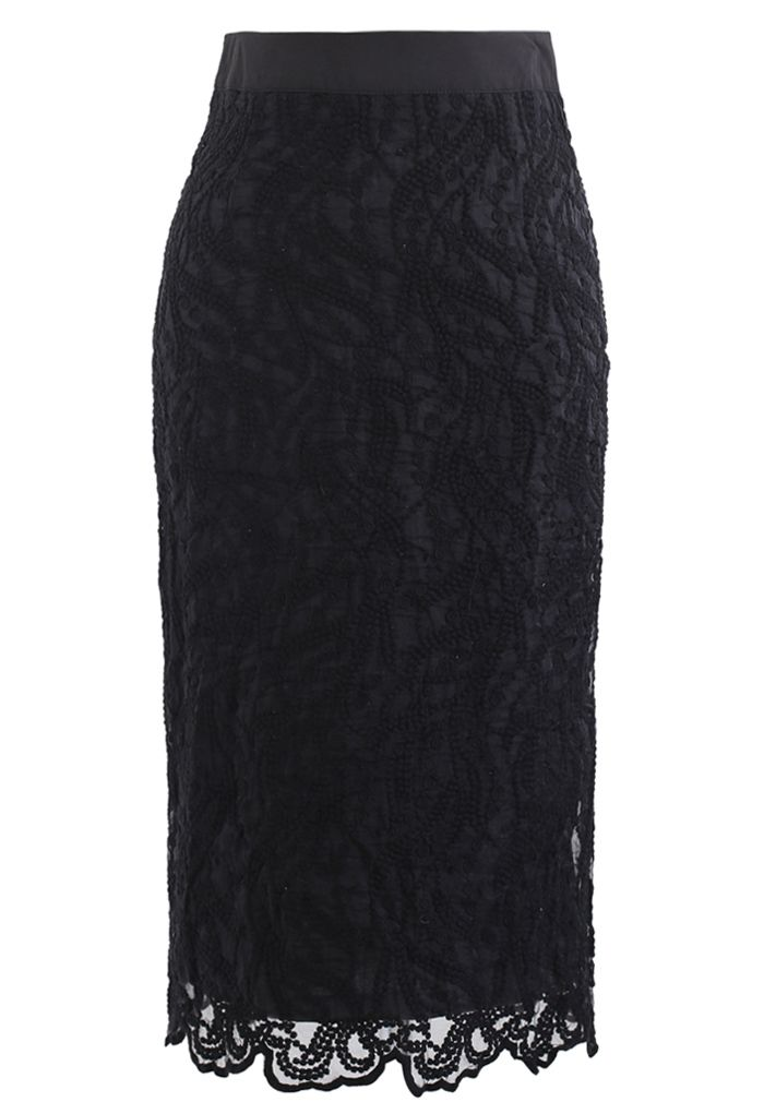 Embroidered Vine Organza Pencil Skirt in Black