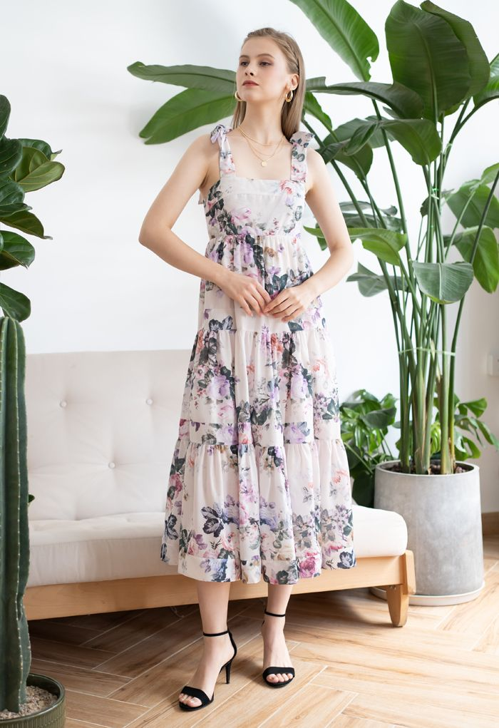 Watercolor Flowers Printed Tie-Strap Maxi Dress