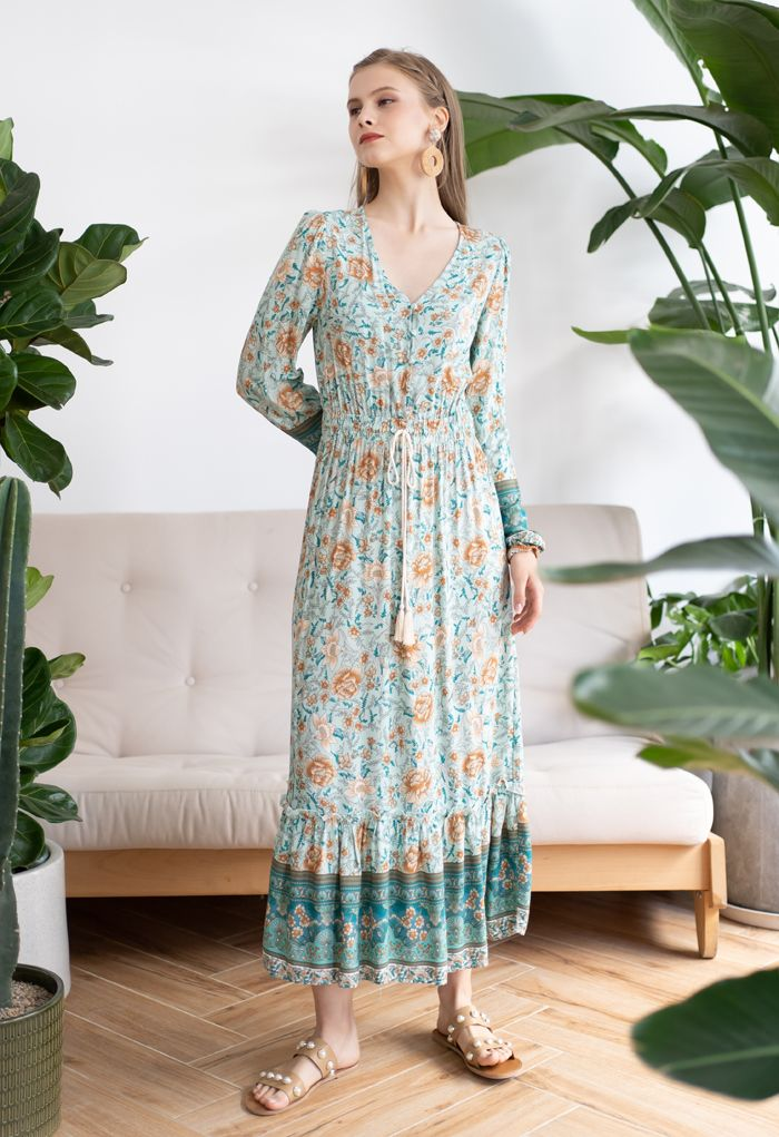 Buttoned Boho Floral Drawstring Waist Maxi Dress