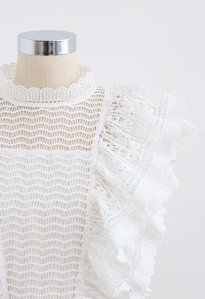 Tiered Ruffle Crochet Mock Neck Sleeveless Top in White