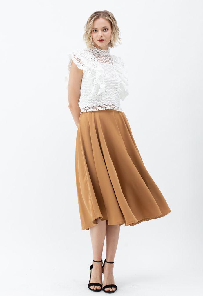 Solid Color Elastic Waist Flare Midi Skirt in Caramel