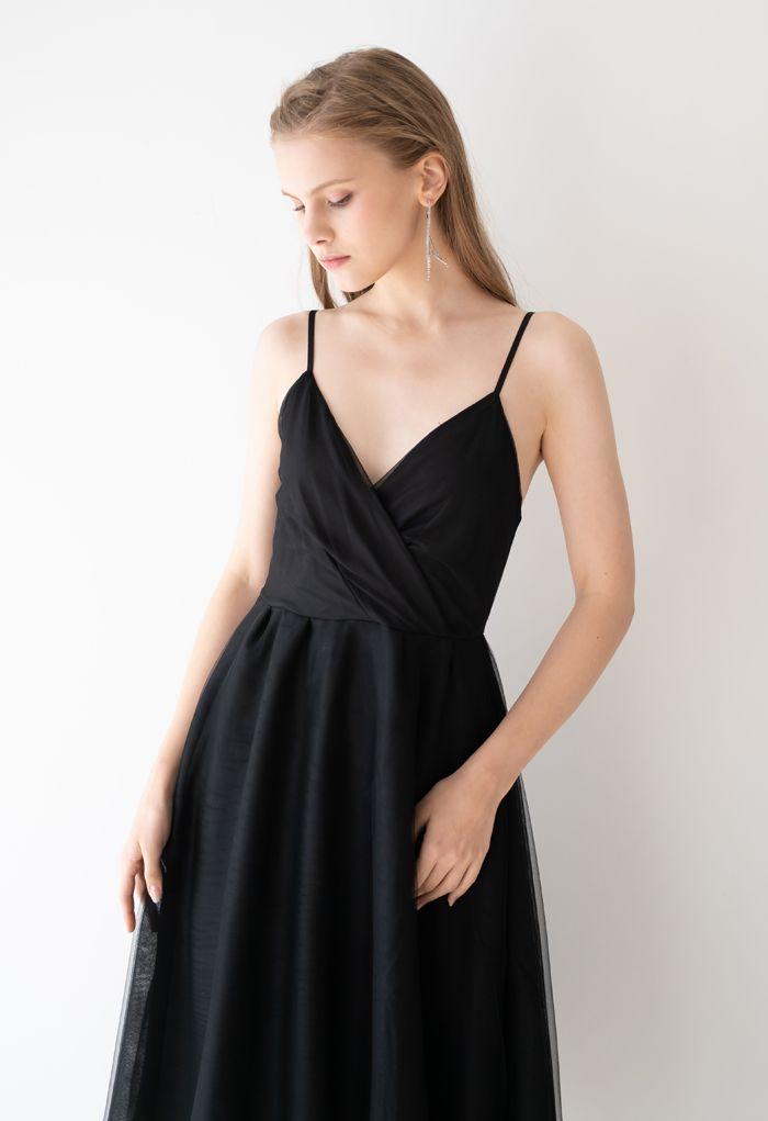 Wrap Bust Mesh Midi Cami Dress in Black