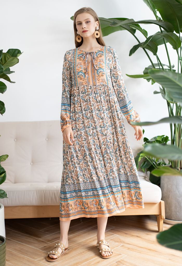 V-Neck Floral Printed Boho Maxi Dress