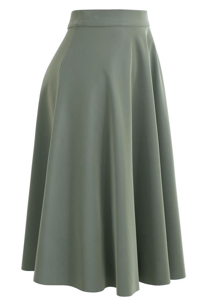 Sleek Faux Leather A-Line Midi Skirt in Olive