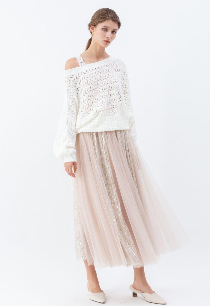 Shimmer Sequin Panelled Tulle Maxi Skirt in Cream