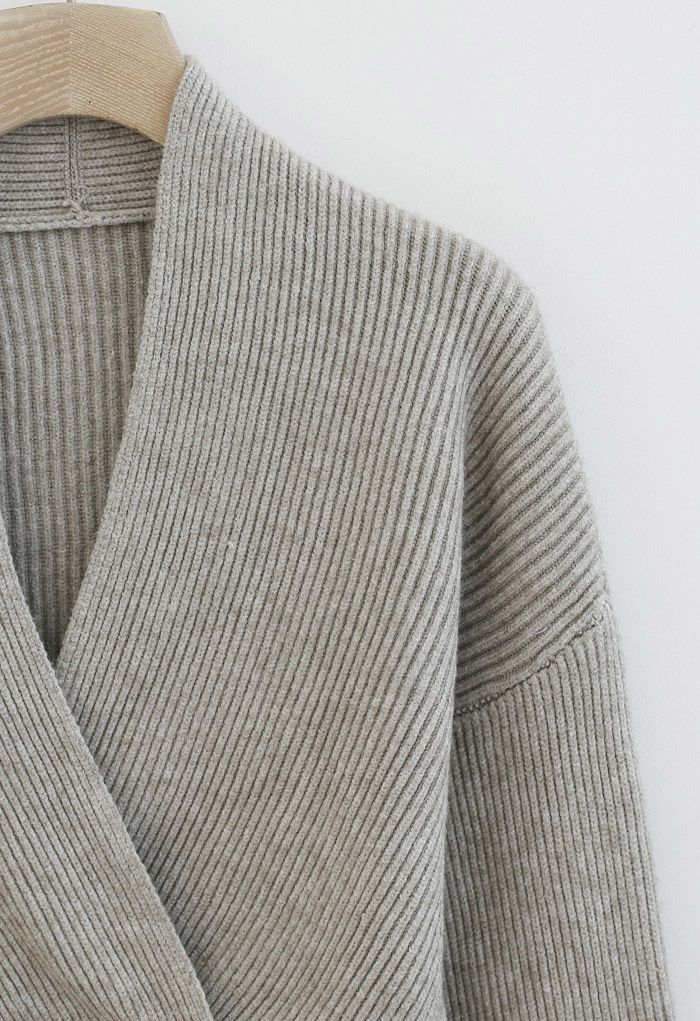 Ribbed Flare Sleeves Wrap Knit Top in Sand