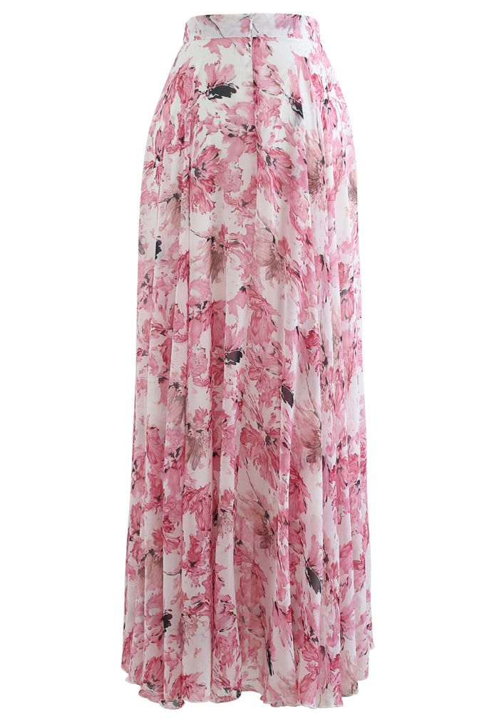 Timeless Favorite Floral Chiffon Maxi Skirt in Pink