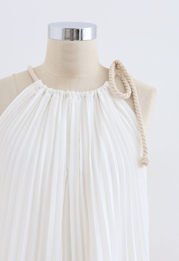 Rope Tie Halter Neck Gradient Pleated Dress