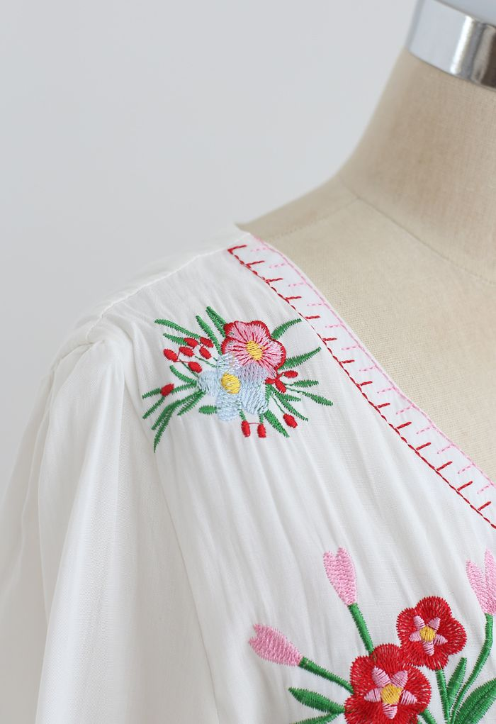 Red Bouquet Embroidered Tied Button Down Midi Dress